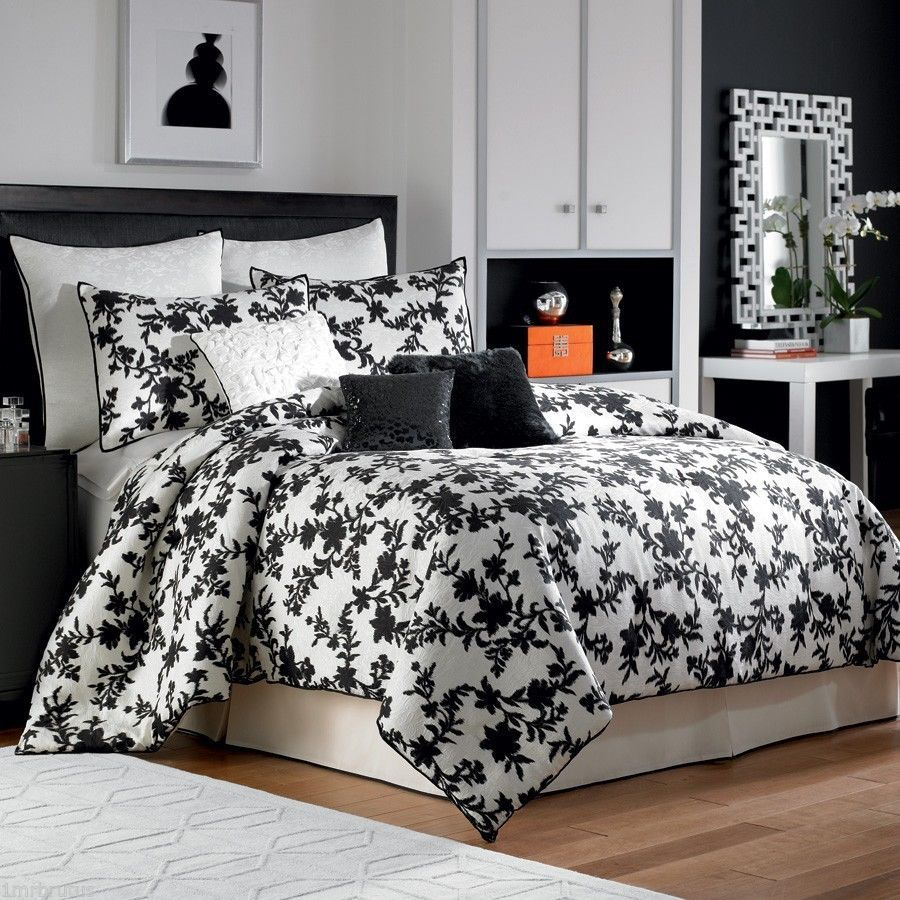 Bed sheet set black and white - 9 Pc Nicole Miller Silhouette King Comforter Set Black White Floral Branches With Pillow