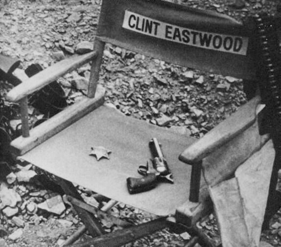 Clint Eastwood's chair on the set of Hang 'Em High, 1968.
