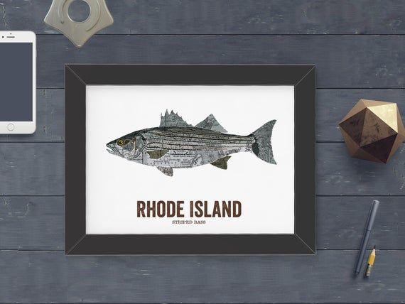 Rhode Island State Fish Map art Nature Outdoor art Vintage Map art Art print Wall decor Fish A