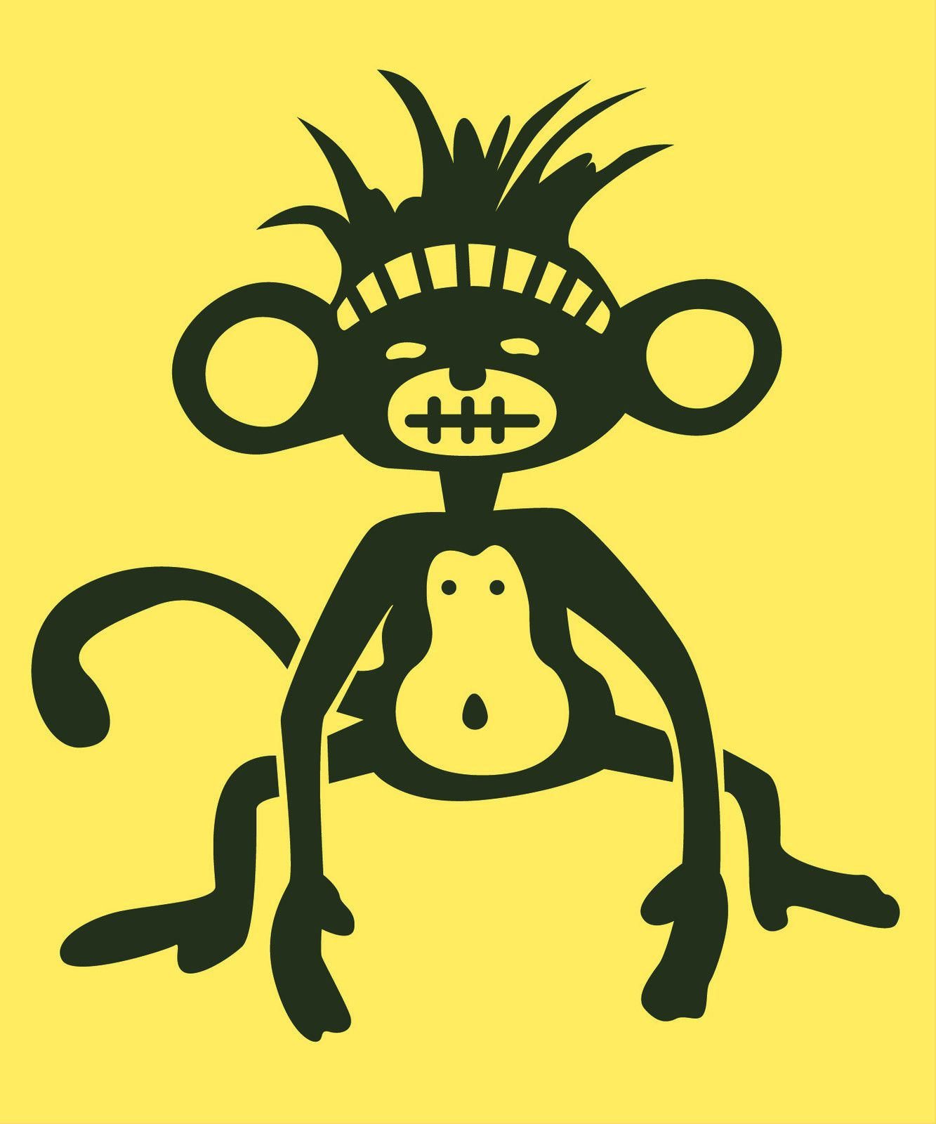 Reusable Large Wall Art Decals Posters-Micro Fiber-Funky Cool Monkey ...