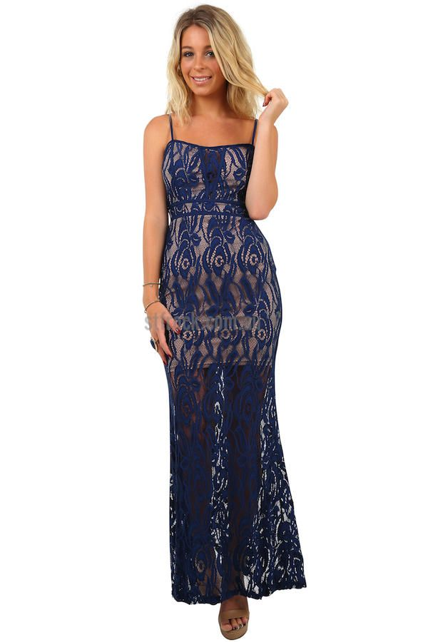 Renaissance Lace Maxi Dress in Navy $35  The super sassy, see through lace trend can be found in magazines and on red carpets, now it can be found in your closet! The Renaissance Maxi is a floor length, form fitting dress made in stretchy lace that flares out towards the bottom. This dress is lined with a nude slip that's also cupped around the bust. The stretchy fabric isn't the only convenient and comfortable feature but the back zip and the adjustable straps are also an added plus!