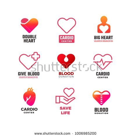 Stock Vector Cardiology And Blood Donation Vector Medical Logos