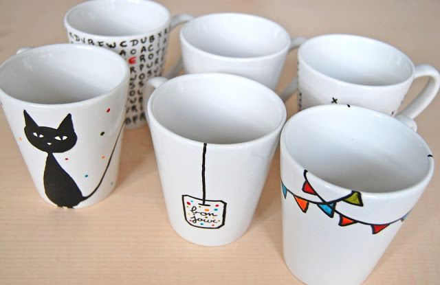 diy mugs personnalis s with sharpies pinterest ceramique peinture sur porcelaine et th. Black Bedroom Furniture Sets. Home Design Ideas