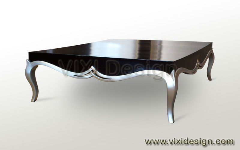 Contemporary Coffee Table Black Silver Painted Furniture Luxury Victorian Modern Clic