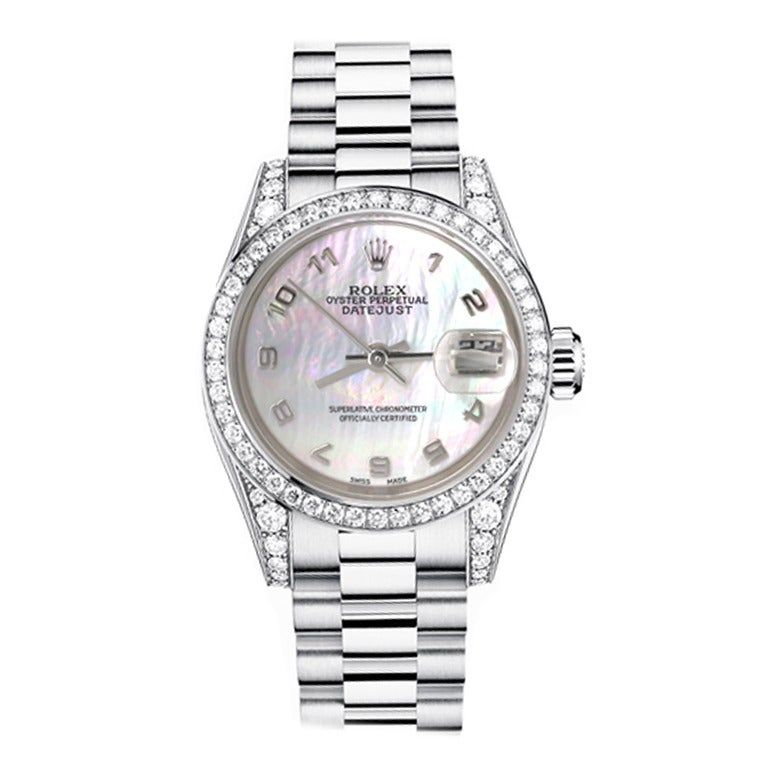 Rolex Ladies White Gold Diamond Bezel Mother-of-Pearl Dial