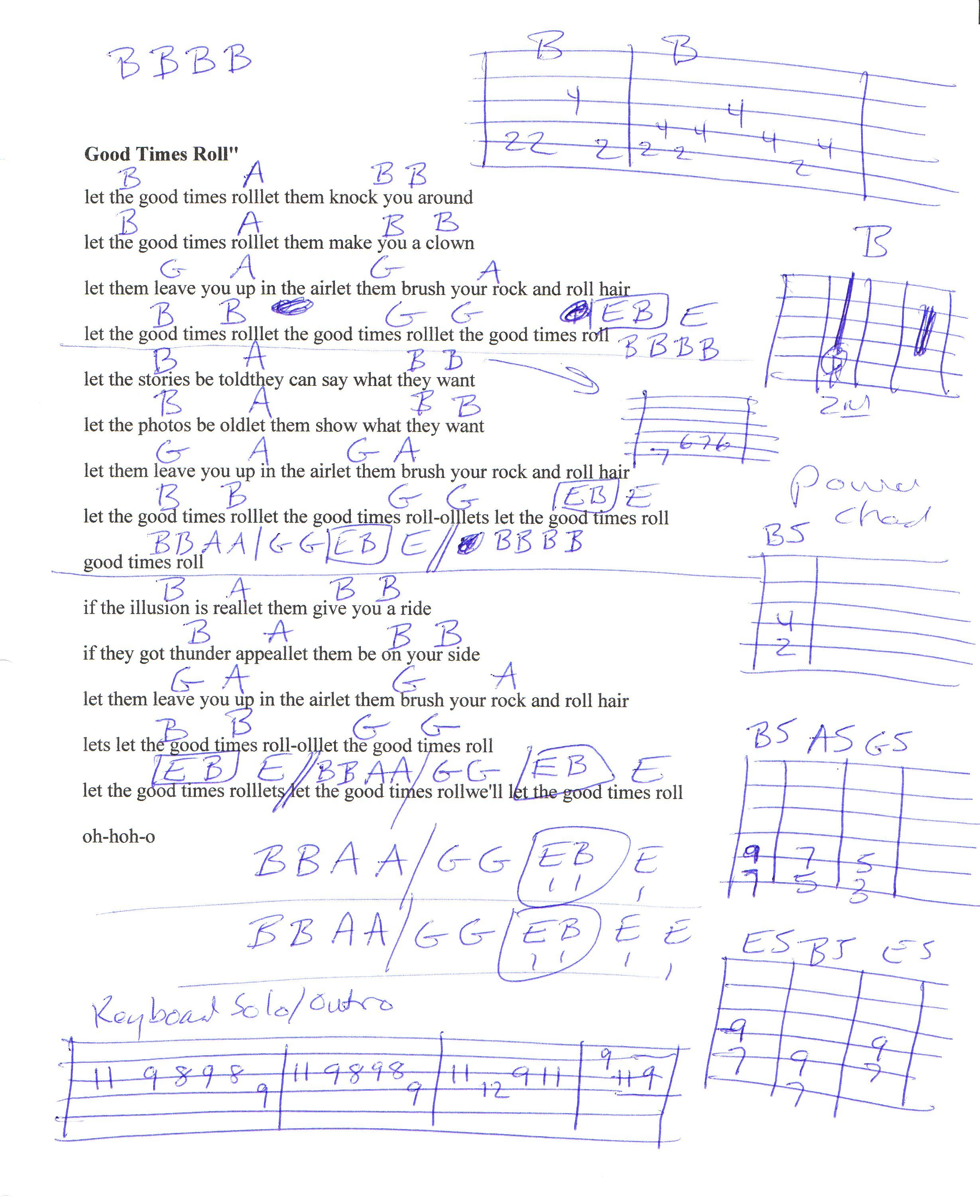 Let The Good Times Roll Cars Guitar Chord Chart Guitar Lesson