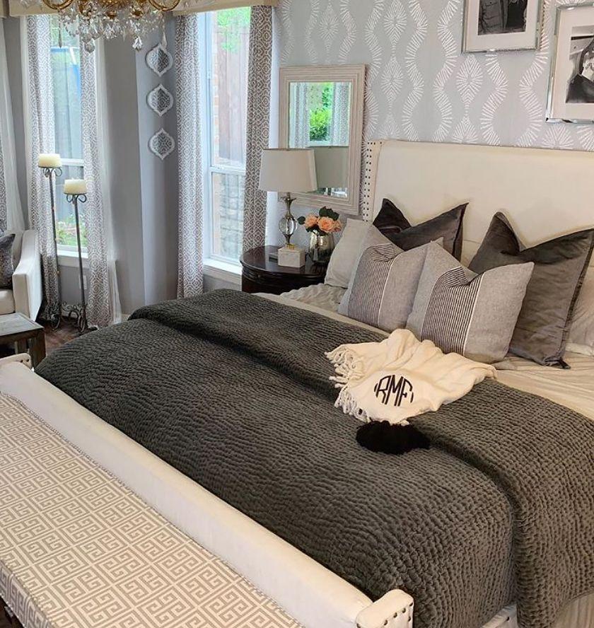 luxe master bedroom with metallic wallpaper in 2020
