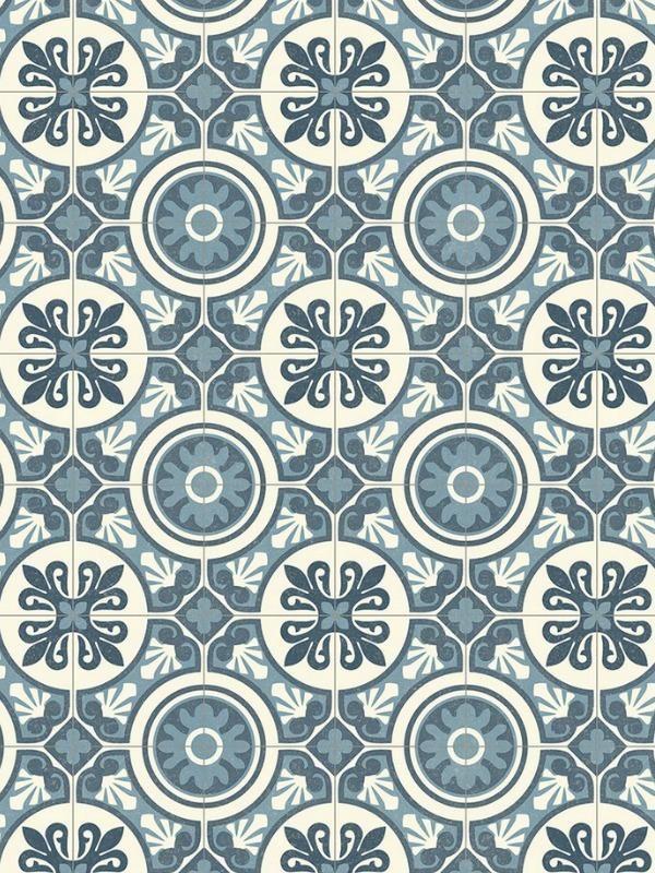 Revetement Pvc Retro Chic Carrelage Ciment Bleu Beauflor Lisbon