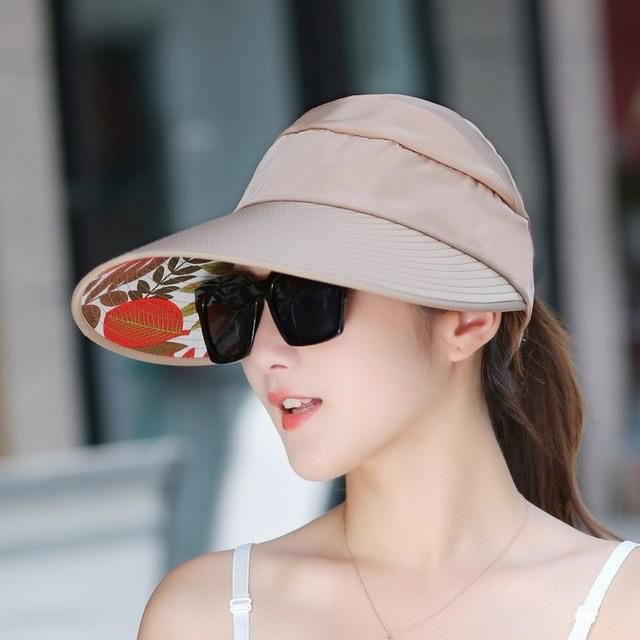ba6c93579acd4 Hot Sun Hats Visor Hat for Women With Big Heads Beach Hats Summer UV  Protection