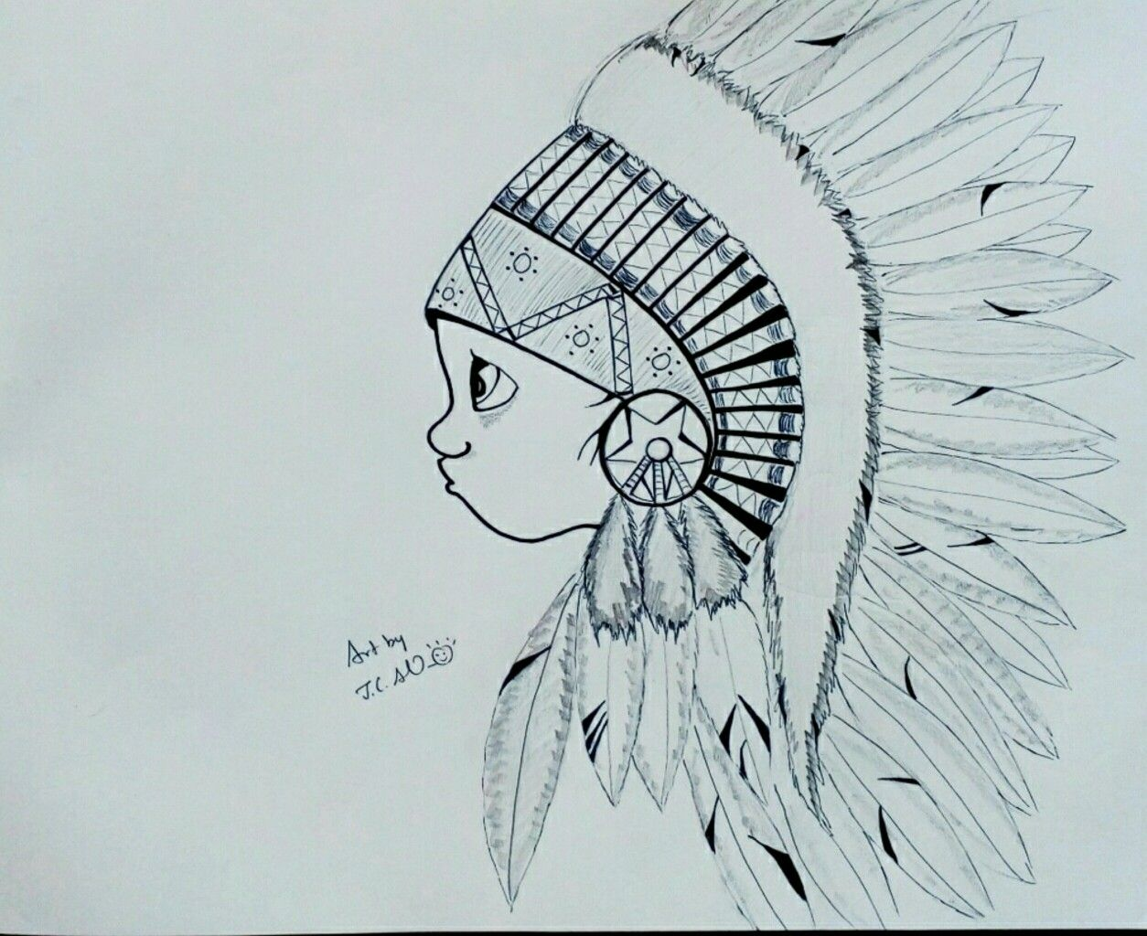 Tribal kid pencil sketch