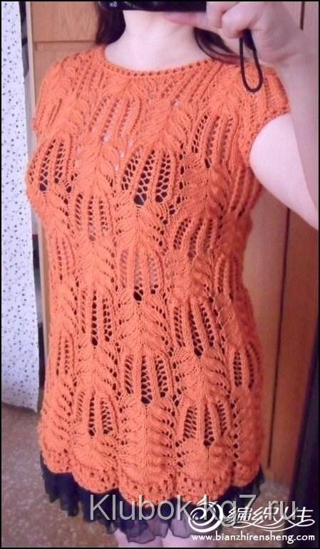Классический пуловер, связанный пальмовыми листьями | Клубок