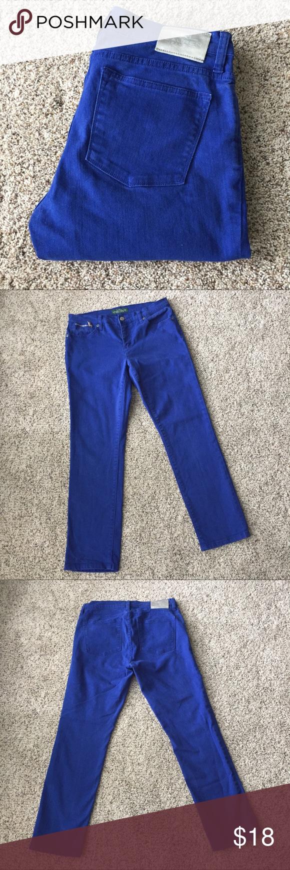 "cobalt blue jeans ✨new listing✨Beautiful cobalt blue jeans by Lauren Ralph Lauren. Zip & button closure. Pockets front & back. Silvertone hardware. Modern straight leg/ankle fit. 98% cotton, 2% elastane. Fits true to sz 8. Measures 37"" top to bottom with 16"" waist, 28"" inseam and 9"" rise. Excellent condition! Lauren Ralph Lauren Jeans"