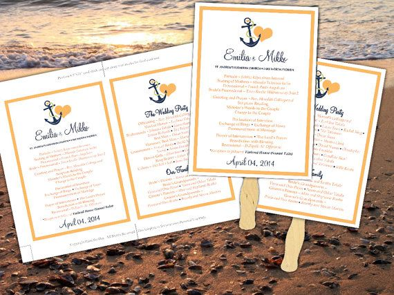Beach Wedding Fan Microsoft Word Template - Ceremony Program - Anchor Love Peachy Orange Navy Blue - Tropical Nautical Wedding Program Favor  by PaintTheDayDesigns, $10.00