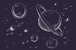 galaxy and planets sketch - photo #2
