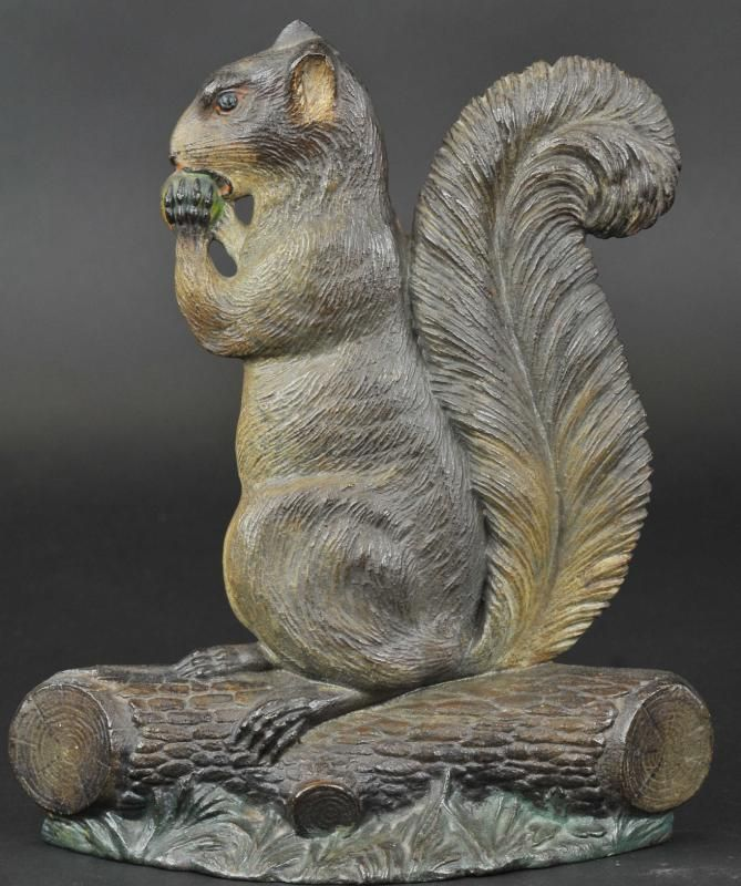 Squirrel with nut doorstop bh heavy casting ornate overall details from fur to tree bark - Cast iron squirrel door stop ...
