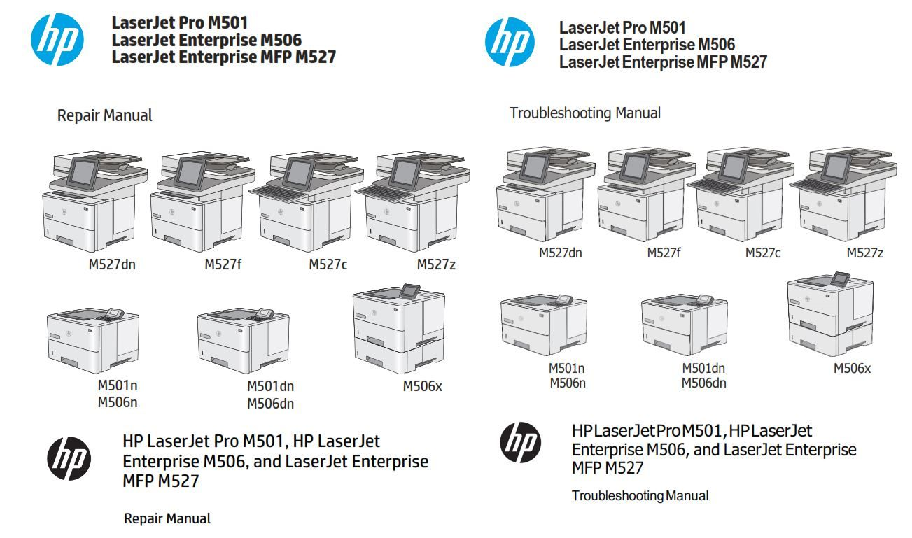 hp laserjet m501 enterprise m506 m527 original service and repair manual   the exact same service documentation as used by all worldwide certified
