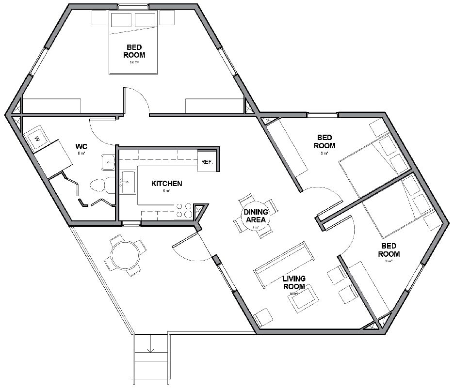 Architects For Society Creates Low Cost Hexagon Refugee Houses Within Small Hexagon House Plans With Regard To Rea Hexagon House House Plans Architecture House