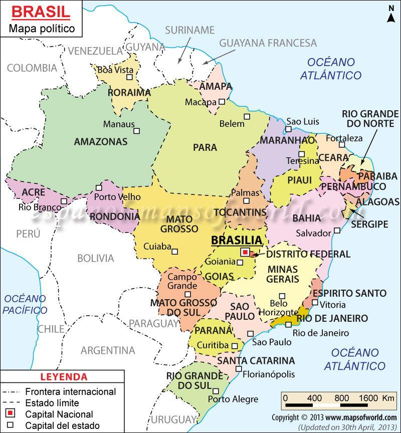 Brasil Mapa Mapa Politico De Brasil Mapa Paises Mapa Politico