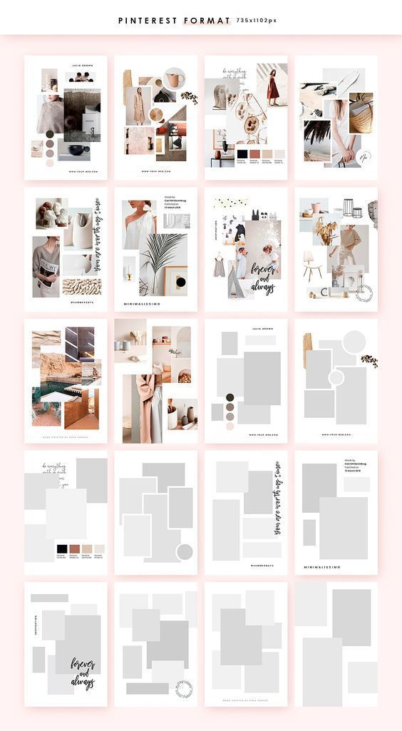 Customisable Moodboard templates, created in PHOTOSHOP and optimised in 2 different sizes for the best presentation on Pinterest, Instagram and not only.  creativemarket  webdesign