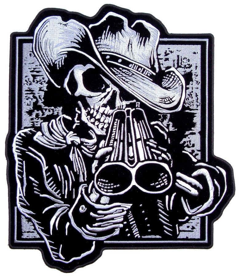 f071bb0124c Cowboy Skeleton With Shotgun Embroidered Biker Patch – Quality Biker Patches  This grim reaper is wearing a cowboy hat and looking down his double barrel  at ...