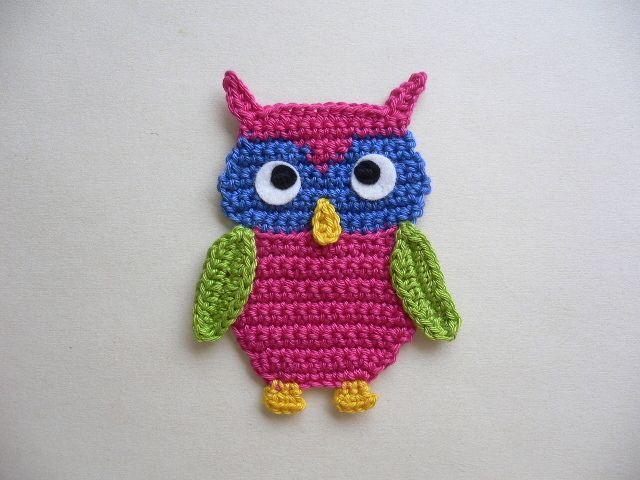 Eule - Häkelapplikation | BIRDS. OWLS ETC by Sonja | Pinterest ...