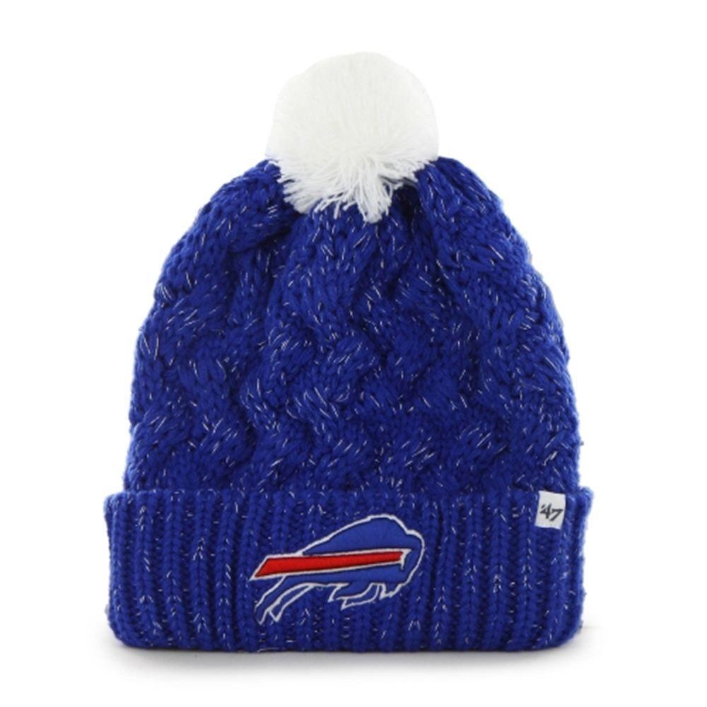 1ad87fcde3c Womens Buffalo Bills  47 Brand Royal Blue Fiona Cuff With Pom Knit Beanie