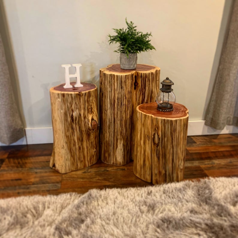 We Plant 8 Trees For Every 1 We Use Reclaimed Tree Stump Side Or End Table And Stool Knaughty Log Company In 2020 Stump Coffee Table Modern Rustic Furniture Stump Table
