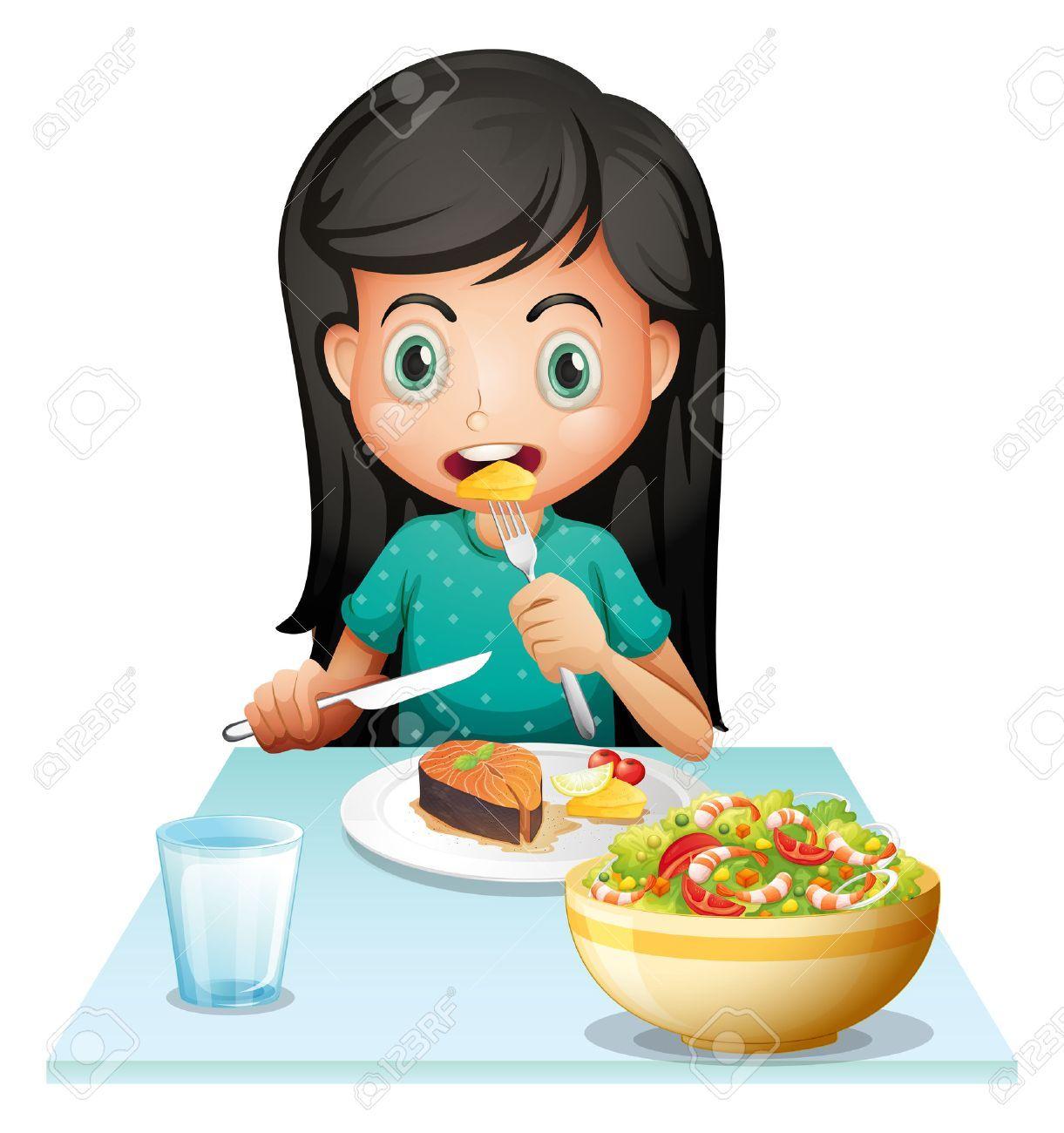 Niña Animada Comiendo Un Desayuno Saludable Buscar Con Google Niños Comiendo Animados Rutina Diaria De Niños Niños Y Niñas Animados