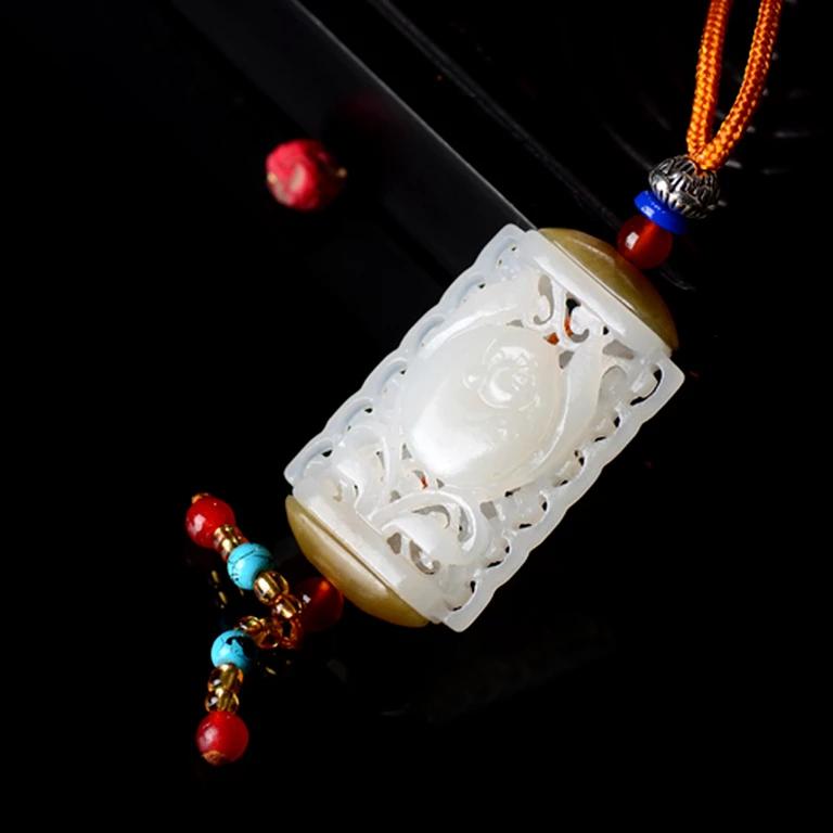 hollow engraving flower pattern white nephrite round oblate shape sachet jade carving pendant