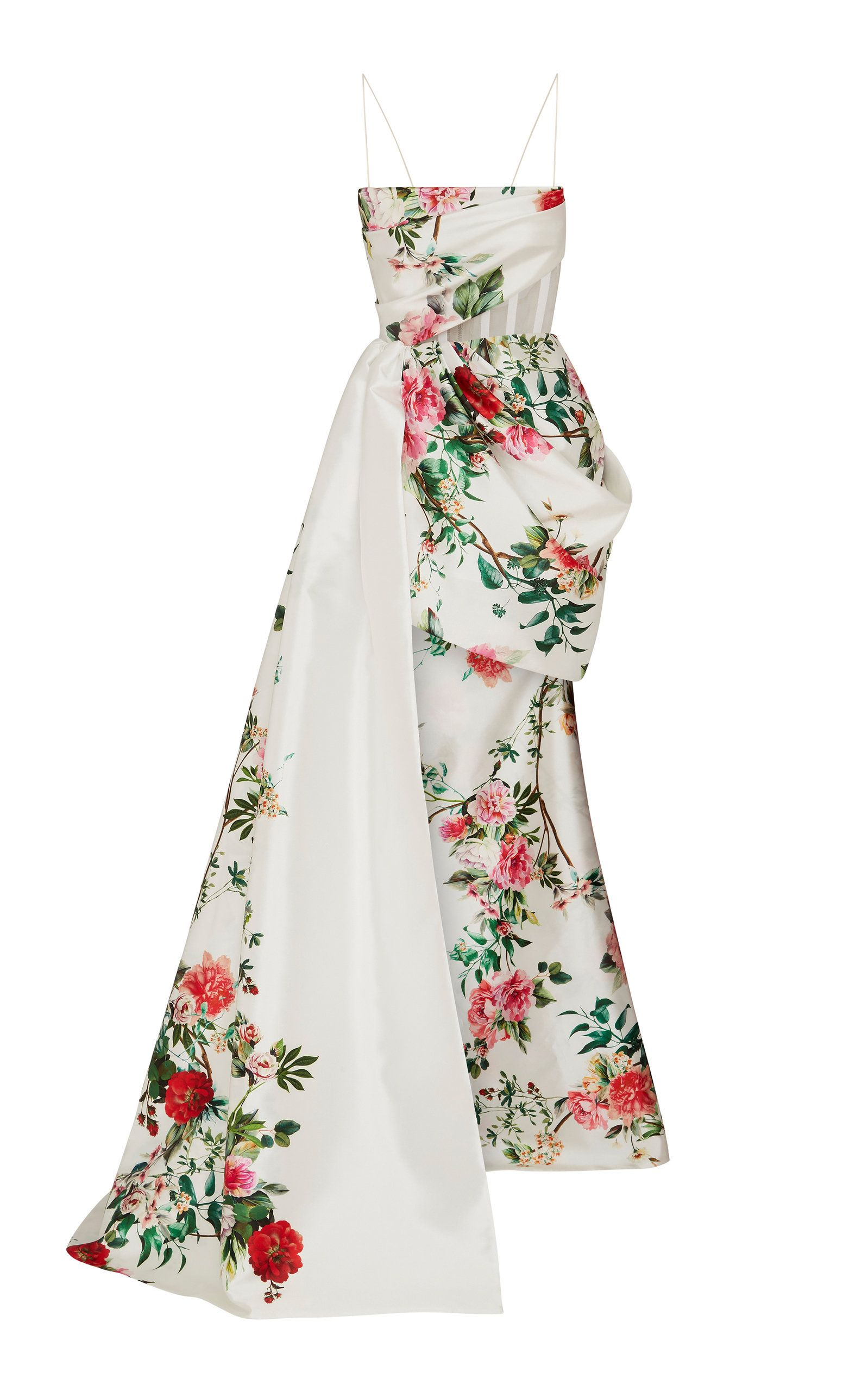 552cc1370e348b Reid sleeveless asymmetrical draped floral gown by Alex Perry