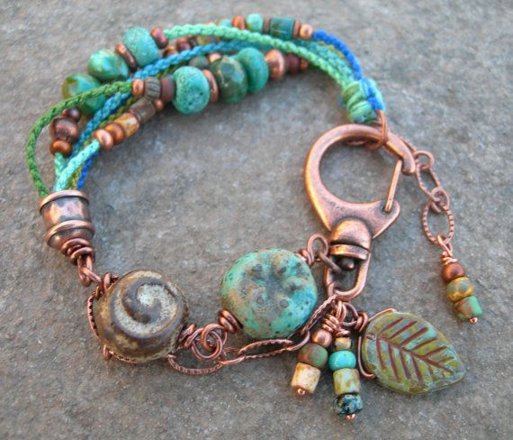 Boho Ceramic Beadwork Bracelet Beaded Macrame Hand Knotted With Copper Ooak