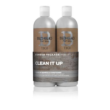 Buy TIGI Bed Head for Men Clean Up Tween Duo 2x 750ml for helping treat your hair and scalp for daily cleansing. Free shipping worldwide at TreatYourSkin.com