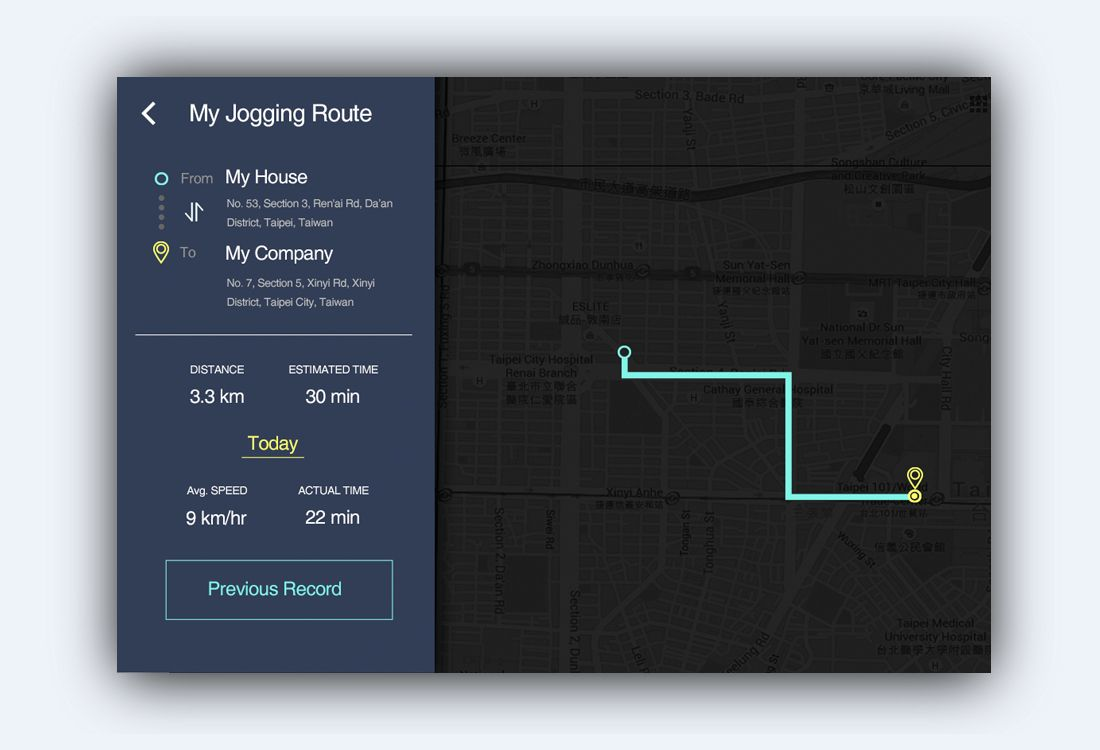 Dailyui day20 route tracker my ui works pinterest dailyui day20 route tracker ccuart Image collections