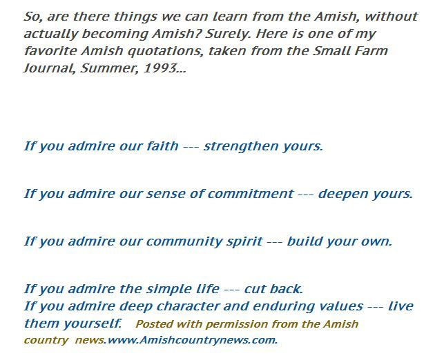 If you #admire our #faith... #strengthen yours. If you admire our #sense of #commitment... #deepen yours. If you admire our #community #spirit.. #build your own. If you admire the #simple life...  cut back. If you admire deep #character and #enduring #values... #live them yourself. Thanks to Small Farm Journal!