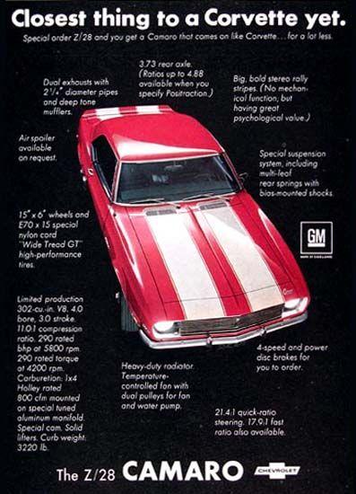 Chevrolet Camaro Z28 Closest To Corvette 1968 - www.MadMenArt.com   Vintage Cars Advertisement. Features over 1200 of the finest vintage cars until 1970. Status symbol, pride and sense of freedom. #VintageCars #Vintage #Ads #VintageAds