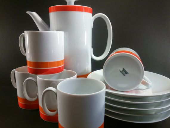 Thomas Rosenthal Germany Carousel 12 Piece White and Orange China ...