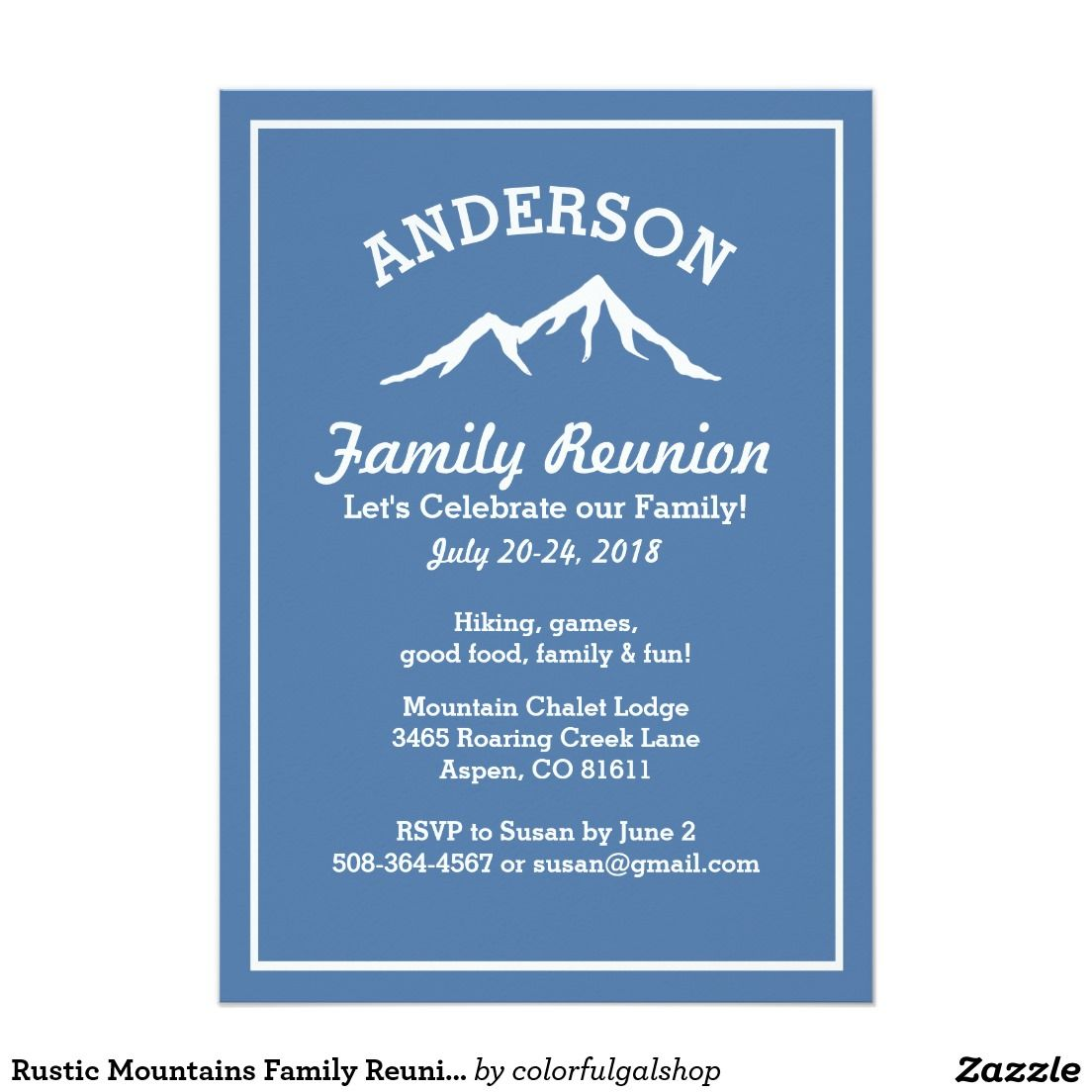 Rustic Mountains Family Reunion Trip Get Together Invitation Zazzle Com Family Reunion Reunion Invitations Family Tree Template