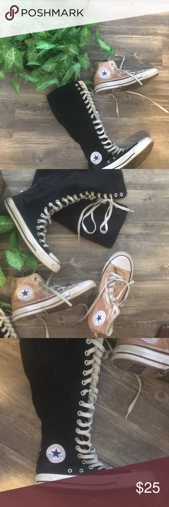 d1f2c76d92f0 Get two pairs of converse shoes for 30 dollars. Get both pair for one  price! Pink ones are a size 5.5 and the black ones are a size 6.
