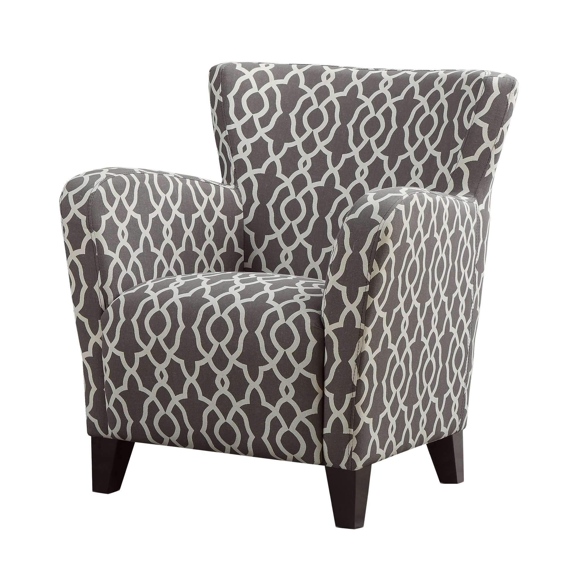 Accent Chair Brown Bell Pattern Fabric Sectional Sofa With