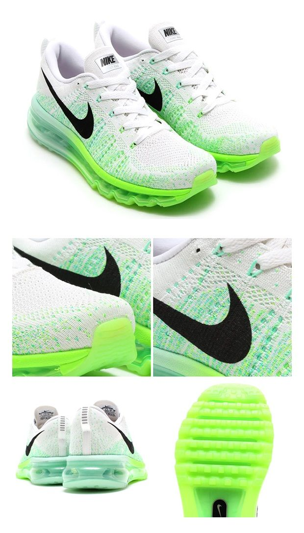 Nike Womens Flyknit Air Max White Black Electric Green Medium Mint Tennis Shoes Outfit Nike Nike Free Shoes