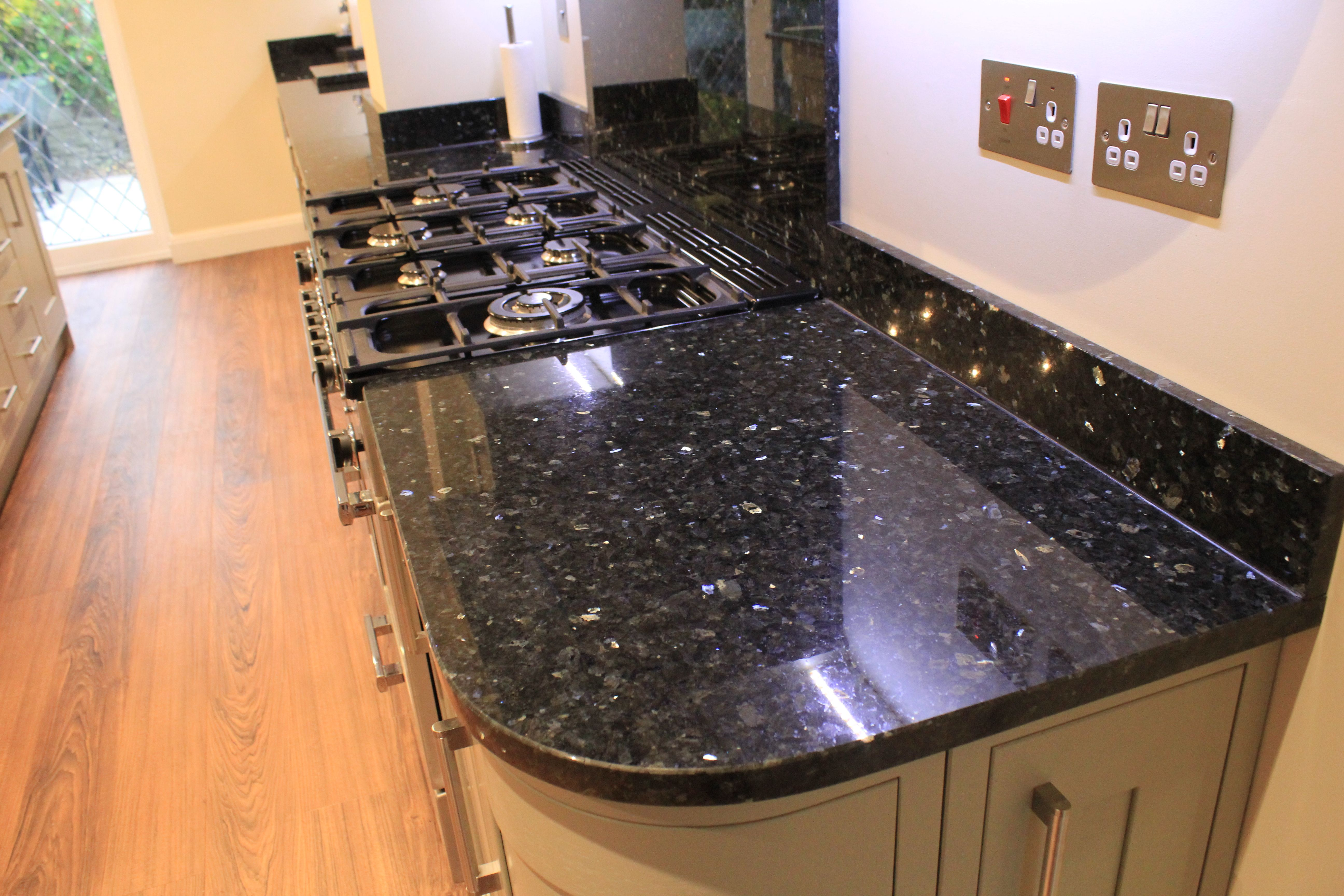 Emerald Pearl Granite Kitchen Worktops With Upstands And