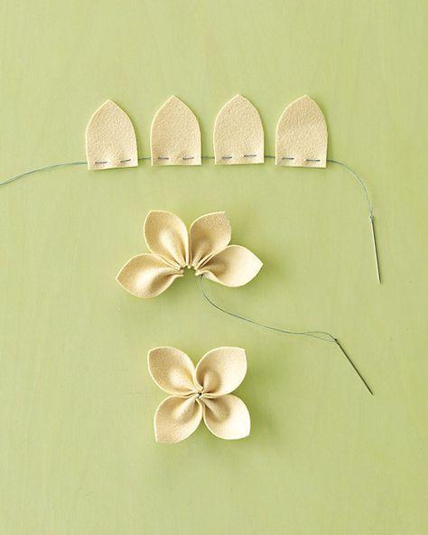 Flor de 4 petalas em linha e tecido