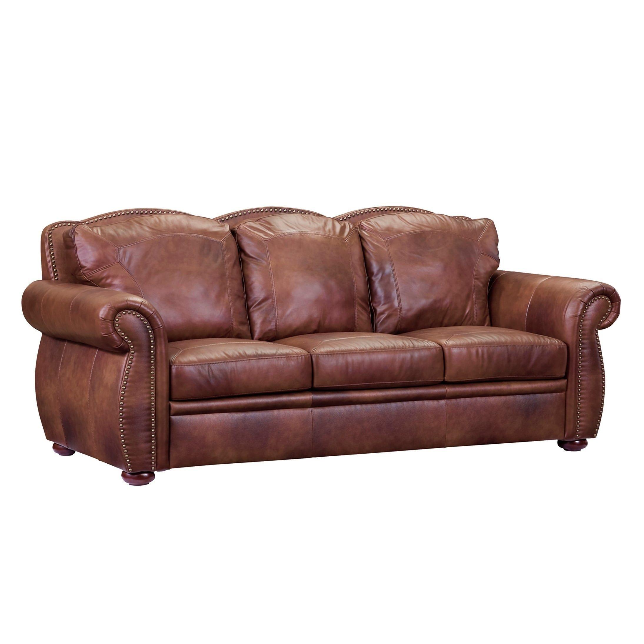 Oliver Pierce Casey Top Grain Italian Leather Sofa Brown