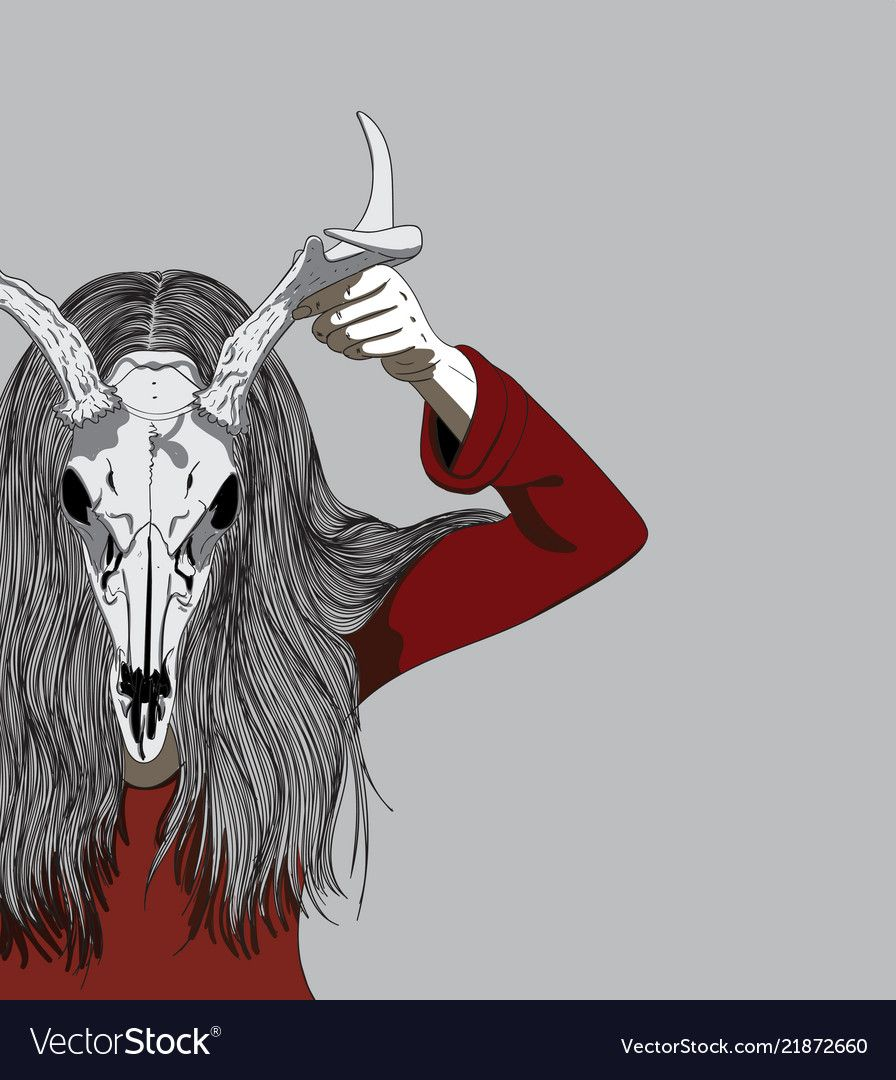 Woman wearing an animal skull on halloween vector image on