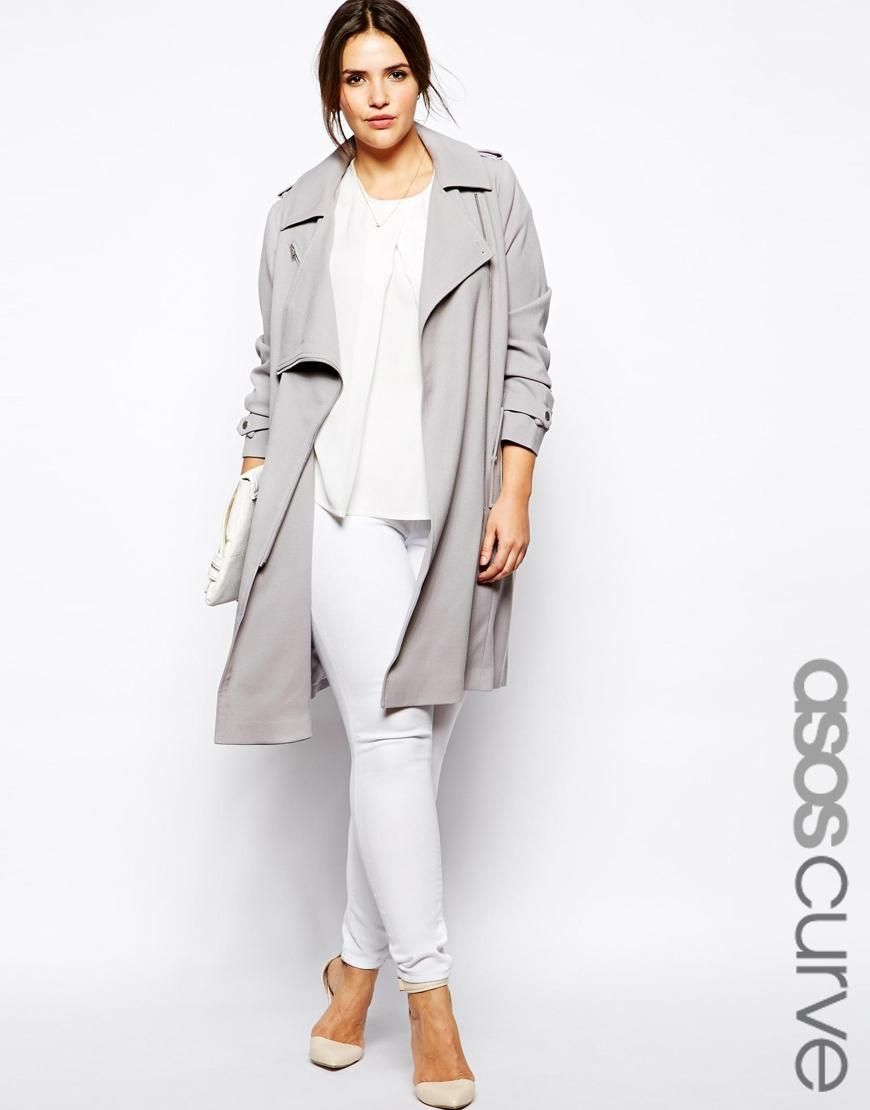 188164f625a ASOS Curve • Mac With Zip Detail. Plus Size Trench CoatGrey ...
