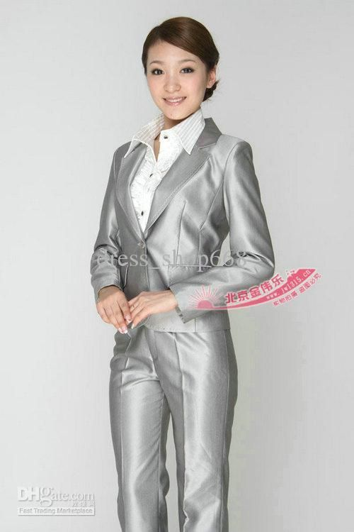 silver llame women\'s pant suit | BV silver women\'s wedding suit ...
