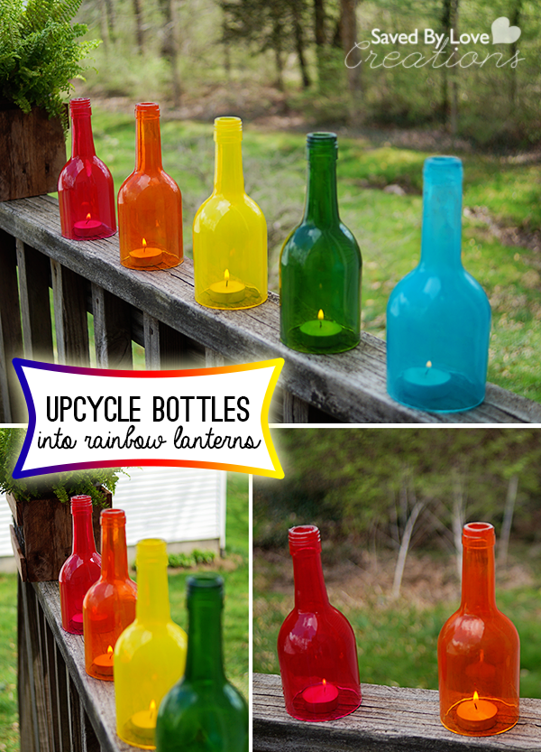 Wine Bottle Craft Upcycle into Rainbow Decor
