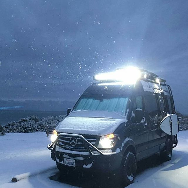 @goneprobro lighting up the night at Oregon campground in his Sprinter with Aluminess gear!  Surfboard ready just in case  #aluminess #roofrack #bumpers #ladder #adventuremobile #adventurevan #surfvan #sprintervan #mercedes #sprinter #sprintervanconversion #sprintervanlife #sprintercampervan #projectvanlife #homeiswhereyouparkit #vanlifediaries #oregoncoast #tillicumbeach