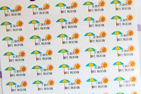 35 Beach Vacation Countdown Stickers - K9 - Oh, Hello Stationery Co.   - 1