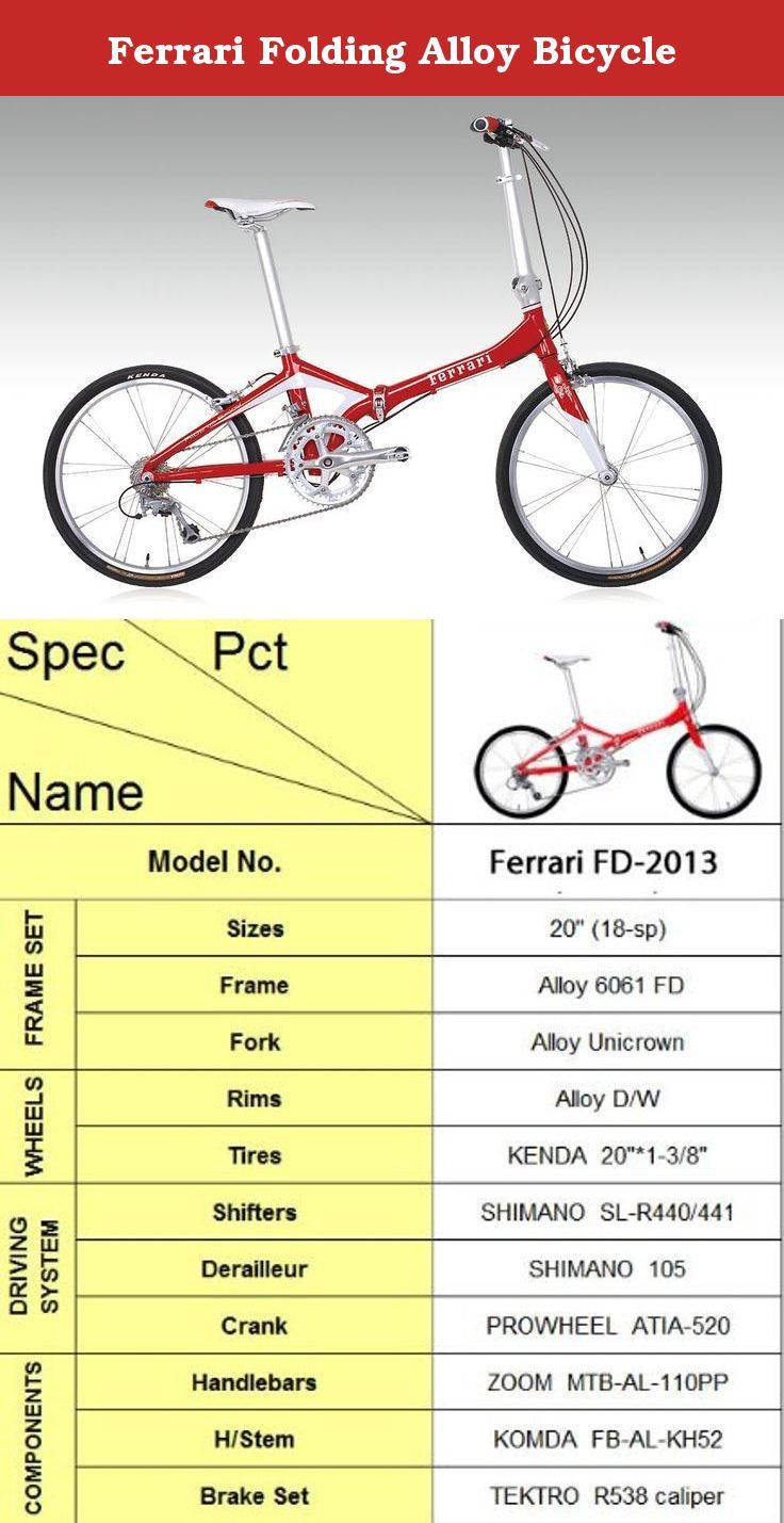 Ferrari Folding Alloy Bicycle Size 20 Speed 18 Frame Komda